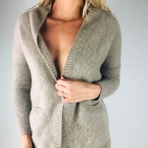THEORY |  100% Cashmere Taupe Cardigan S